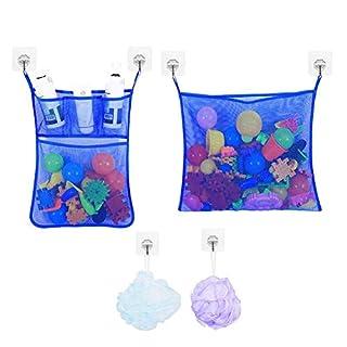 YQ WHJB Bad Spielzeug Veranstalter,tub Cubby Net Bags Schnell Trocken Badewanne Mesh Riesig Baby Spielzeug Lagerplatz Enthält 6 Haken +2 Tub Toy Mesh Bag-blau