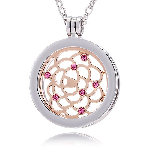 Morella mujeres collar 70 cm acero inoxidable y colgante amuleto Coin 33 mm ornamento celeste de color rosa oro 33 mm para damas, en bolsa para joyas