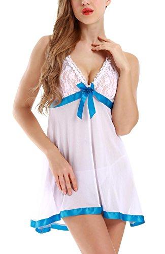 Adorneve Damen Reizwäsche Spitzen Tief V Neckholder Babydoll Lingerie Nachtkleid Mit G-String Weiß