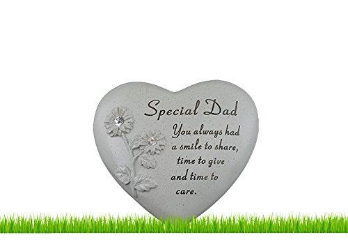 Tomba Commemorativa Cimitero Cuore Strass Fiori Ornamento Speciale Loved Funerale - Papà Speciale