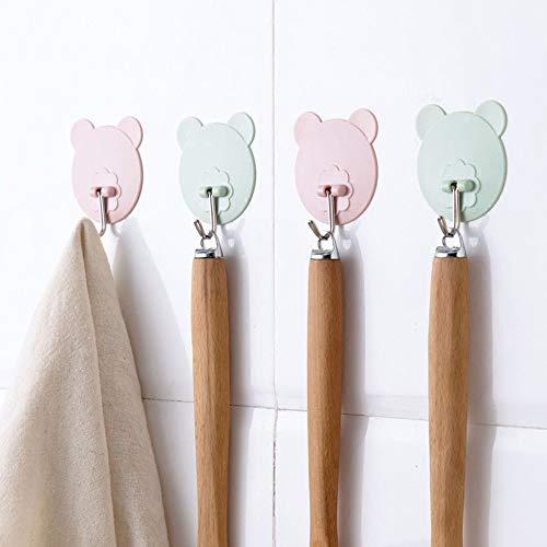 KWOSJYAL 10 Stücke von Non-Kennzeichnung Haken Küche Wand Kleber frei Stanzen nagelfrei Bär Stick Haken Bad Handtuch Lagerung Haken Bär Kopf -