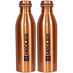 Medlife Pure Copper Water Bottle 1000 ML - (Pack of 2)