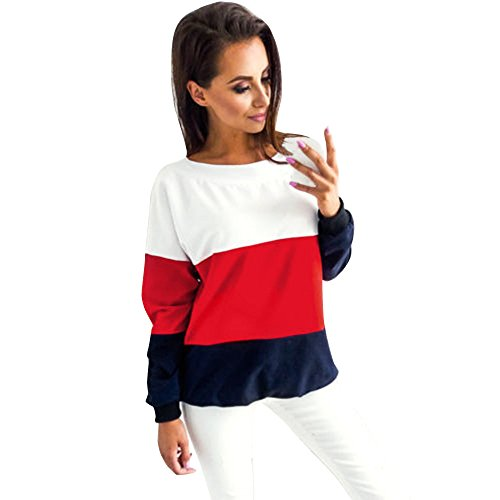SANFASHION Tops Women Long Sleeve Striped Blouse Shirt Casual Lace Up Tops Sweatshirt Pullover