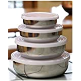 [Sponsored]Escon Stainless Steel Lid Bowl/Container Storage Set Dabba Set Of 4