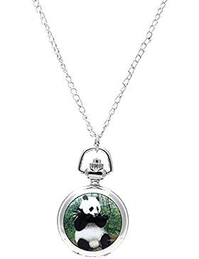 SODIAL(R)Dame Medaillon Anhaenger Quarz Taschenuhr Halskette Kette Silber Zifferblatt Vintage Panda