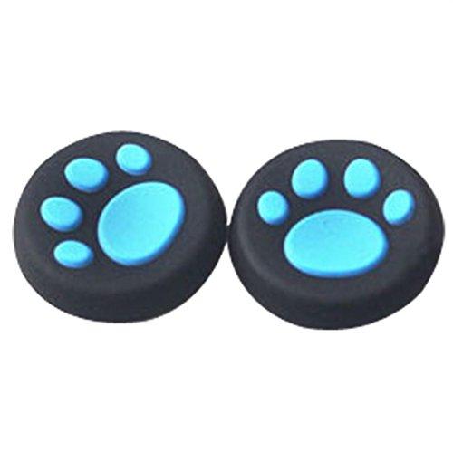 Preisvergleich Produktbild Ouneed 1 Paar Katze Pfote Silikon Gel Daumen Griffe Caps Für Nintendo Switch Controller (Blau)