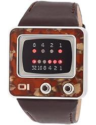 Binary The One TV - Reloj digital de caballero de cuarzo con correa de piel marrón - sumergible a 30 metros