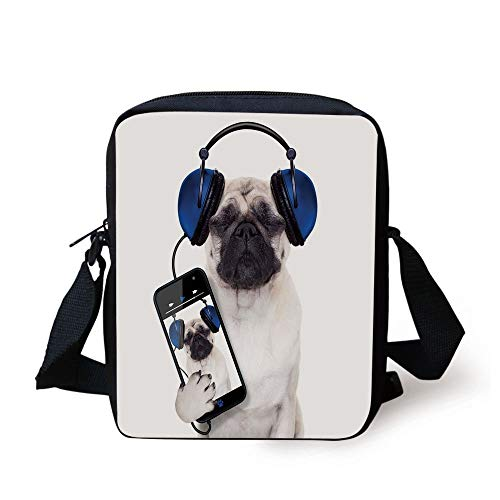 Pug,Dog Listening Music on the Smartphone Groovy Cool Headphones Animal Funny Image Decorative,Navy Blue Black Print Kids Crossbody Messenger Bag Purse - Navy Bean Bag