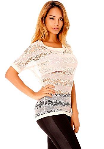 dmarkevous - Tee shirt Top beige femme tout en dentelle, manches 3/4 avec strass et perle, agréable à porter. Beige