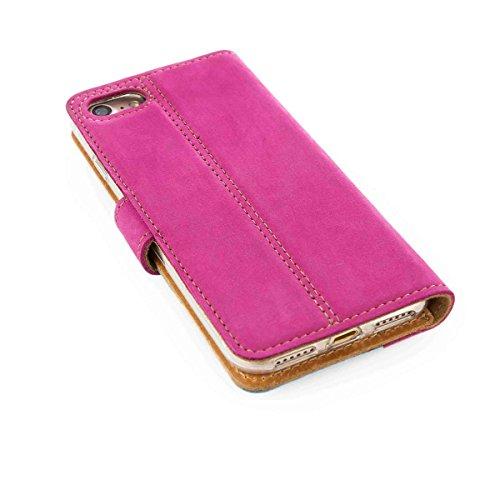 Zwei Motiv - Apple iPhone 7 - Premium Ledertasche Schutzhülle Wallet Case aus Echtesleder mit Kreditkarten / Notizen Fachern (Veloursleder) und Duo Motiv (Schwarz/Orange) von Surazo® Duo Leather Kolle Pink/Light Blue