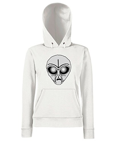 T-Shirtshock - Sweats a capuche Femme FUN0547 alien head sticker 9 31423 Blanc