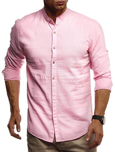 Leif Nelson Herren Leinenhemd Hemd Leinen Kurzarm T-Shirt Oversize Stehkragen Männer Freizeithemd Sommerhemd Regular Fit Jungen Basic Shirt Kurzarmshirt Freizeit Sweater LN3860 Pink Small