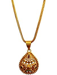 Poonam Creation Alloy Golden Color Pendant With Chain For Women