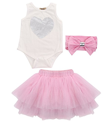 (Kleidungsset für Babys, für Mädchen, Body mit Herzmotiv, Tutu-Kleid und Haarband, 3 Teile, fürNeugeborene, Geburtstagsoutfit, rosa)