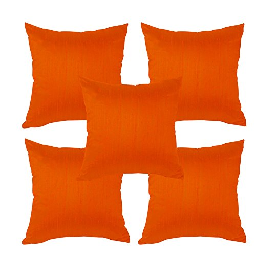 meSleep Orange Dupioni Cushion Cover (16x16)-5pc Combo