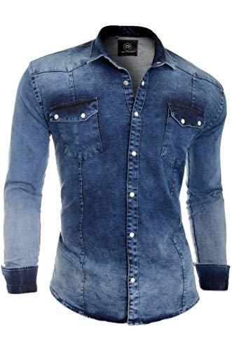 Camicia in jeans spesso denim da uomo con collo regolare e tasche eleganti