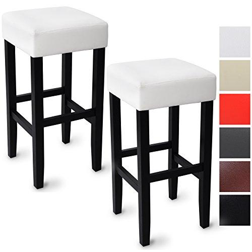 WOLTU BH22ws-a 2 x Barhocker Barstuhl Holz Kunstleder ohne Lehne, 2er Set, robustes Massivholz, Antirutschgummi, pflegeleichter Kunstleder, gut gepolsterte Sitzfläche, Weiß