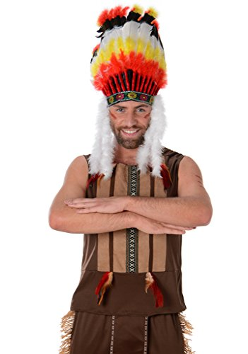Indian Chief Mens Fancy Dress Red Native American National Adults Costume Outfit (National-hosen Costume)