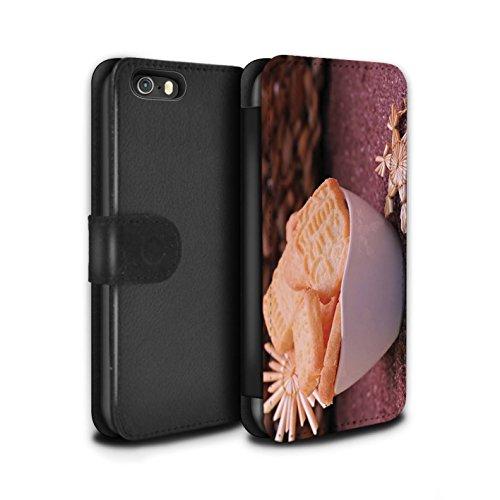 Stuff4 Coque/Etui/Housse Cuir PU Case/Cover pour Apple iPhone SE / Biscuits Design / Nourriture de Noël Collection Biscuits