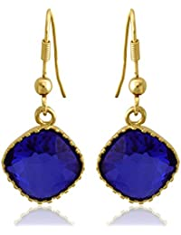 Spargz Blue Color Synthetics Stone Gold Plating Dangle & Drop Hook Earrings For Women AIER 958