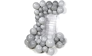 PuTwo Grey Balloons, 60 pcs Matte Balloons Pack of Dark Grey Balloons and Gray Balloons, Party Balloons for Grey Party Decorations, Grey Wedding Decorations, Baby Shower Decorations Grey