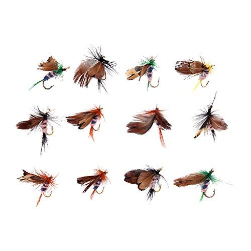 12 Stück Schmetterling Design Trocken Fliegen Fischen Köder Haken Zubehör