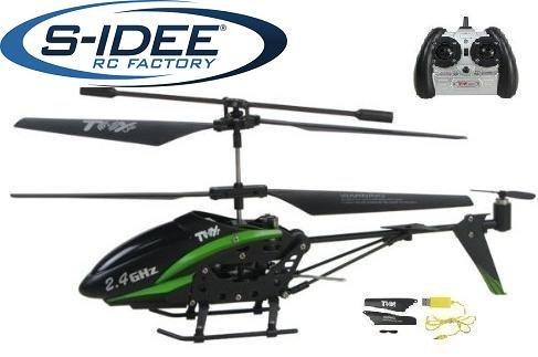 S-IDEE 01108 | 2,4 Ghz Heli grün 3,5 Kanal mit Gyro + USB Ladekabel - Helicopter Rot Syma