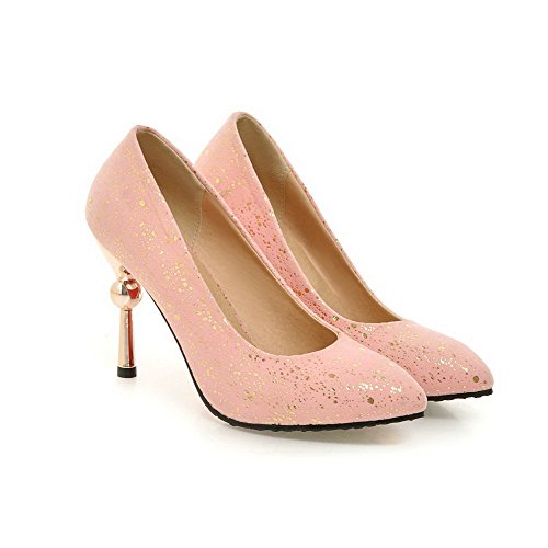 Sapatos Sobre Estilete Pointy Um Do Senhoras Fosco Bombas Reinziehen Dedo Bulbo Allhqfashion Rosa Vidro Pé qHwxg6t