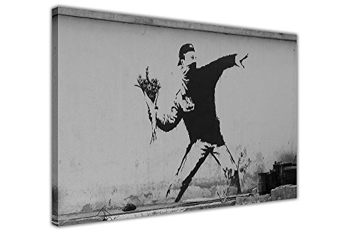 Iconic Banksy Flower Thrower auf Qualität gerahmt Leinwand Wand Kunstdruck Home Dekoration Bilder, 06- A0 - 40