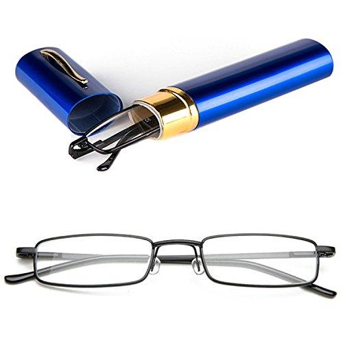 VEVISTARS Lesebrillen Herren Damen Tragbar Brillenhülle Metall Klassische Scharnier Schmal Leichte Stil Stärken lesebrille mit Etui Taschenclip Brillenetui (Blau (Blau Schachtel mit schwarze Lesebrille), 2.5) (Tragbare 2,5)