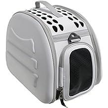Transportin para perros y gatos plegable y lavable Yatek, recomendado para mascotas de hasta 6kg de color gris claro