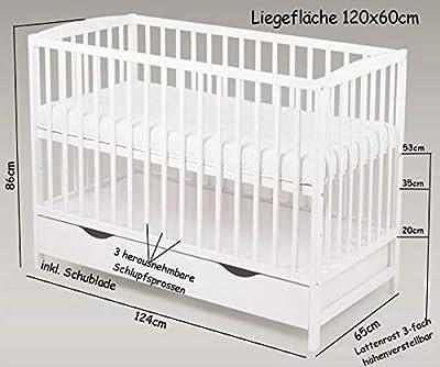 Dennis - Cuna infantil con colchón (120 x 60 cm), color blanco
