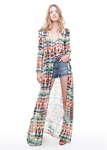 Mode Damen Tie Dye Druck Langarm Chiffon Georget Hemdkleid (Asian L (Äquivalent S-M) length 138cm Bust 100cm Waist 64cm Sleeve 55cm) (Tie-dye-mode)