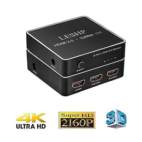 LESHP 4K x 2K HDMI Répartiteur, HDMI 2.0 1x2 Splitter, 1 source HDMI vers 2 ECRANS - FULL HD 1080p 30hz- HDMI Splitter Amplificateur Distributeur Signal Soutien 3D CEC HDCP