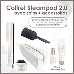 L'oreal - Pack fer à Lisser Fins Steampod + brosse + Sérum + Crème + trousse