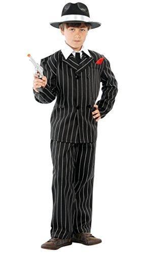 Jungen Schwarz Weiß 1920er Nadelstreifen Bugsy (Film) Malone Gangster Halloween Fancy Kleid Kostüm Outfit - Schwarz / Weiß, 7-9 Jahre (Kinder 1920er Jahre Gangster Kostüme)