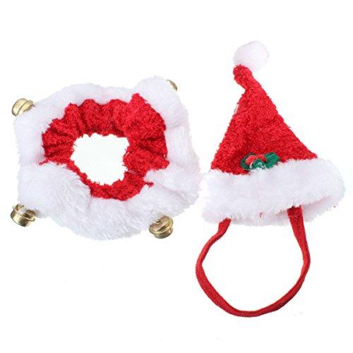 Kostüme Hunde (2pcs Hund Katze Weihnachten Halsbänder und Hut Kragen mit Glocke Weihnachtshüte Halsband Krawatte Weihnachten Kostüm)