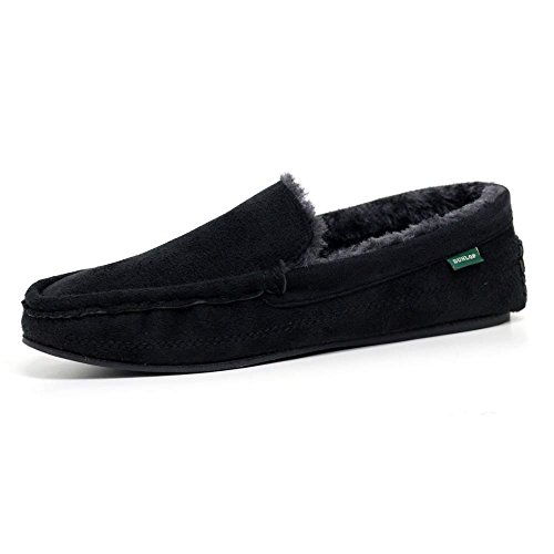 mens famous dunlop george moccasin loafers faux sheepskin fur slippers with rubber sole