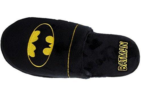 Official Batman DC Comics Warner Bros Herren Weiches Plüsch Slip Auf Maultier-hausschuhe - Schwarz, 8-10 UK / 42-45 EU / 9-11 US