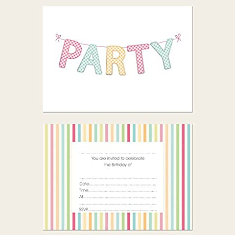 Gingham Bunting Birthday Party Invitations - Pack of 10