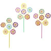 Baoblaze 10pcs Molinillos de Viento Modelo de Flores con Cara Sonriente Multicolor Juguete Divertido para Niños