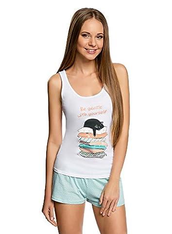 oodji Ultra Damen Pyjama Set aus Bedruckten Shorts und Trägertop, Weiß, DE 38 / EU 40 / M