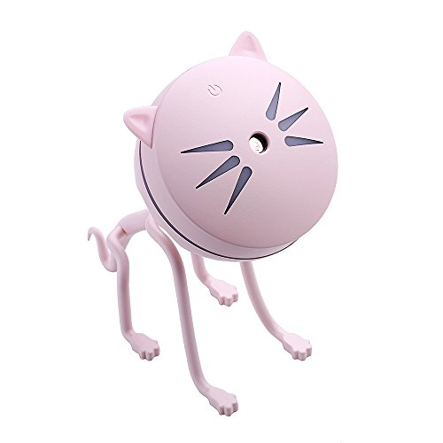 HONG Tragbare Mini Luftreinigung Staubsauger USB Cat Ultraschall-Luftbefeuchter 150 Mlwith Farbe LED-Leuchten Büro Desktop Baby Schlafzimmer Luftreinigung Staubsauger,Pink (Mini-desktop-roboter-staubsauger)