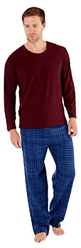 Harvey James Herren Schlafanzug BURGUNDY/PETROL