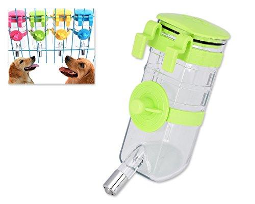 DSstyles Wasserflasche für Hunde Wasserspender 375ml Portable Hängendes Wasser Trinkflasche für Haustier Puppy Cat - Green (Hundefutter Automatische Dispenser)