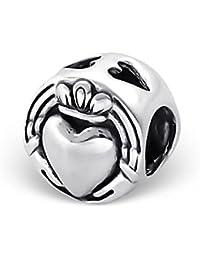So Chic Joyas - Abalorio Charm Corazón coronado - Compatible con Pandora, Trollbeads, Chamilia, Biagi - Plata 925