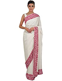 Talking Threads Crepe Saree with Blouse Piece (TT-11478SAPWKAL_Ivory_Free Size)