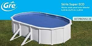 Piscine ovale 610x375 H120 Liner 30/100 overlap + filtre à cartouche 3,8m3/h + échelle 2 x 3 marches
