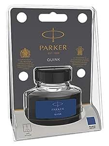 Parker flacone di inchiostro liquido Quink per penna stilografica, 57 ml, confezione in blister, blu/nero