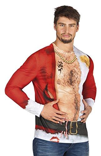 Halloween Bad Santa Kostüm - Halloweenia Herren Kostüm Shirt/3D Photoshirt Fotorealistik Hemd Bad Boy Santa Claus, XL, Rot